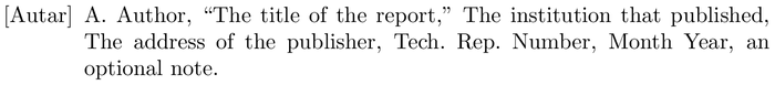 IEEEtranSA: example of a bibliography item for an techreport entry