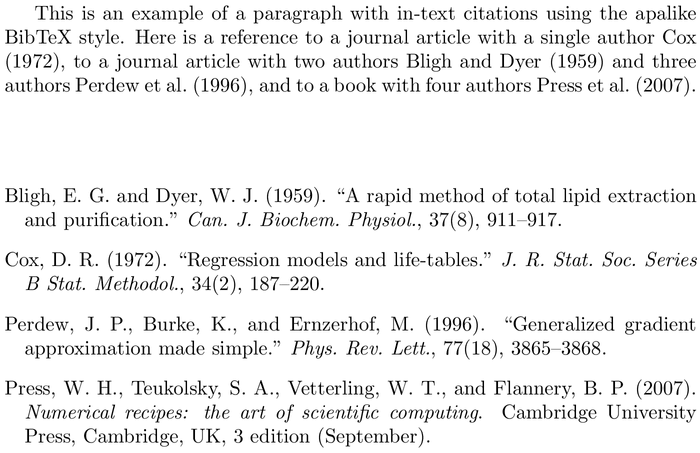 BibTeX ascelike bibliography style example with in-text references and bibliography
