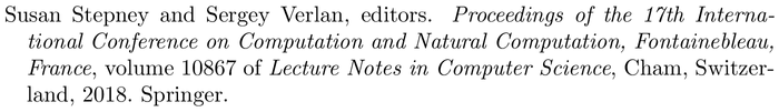 bestpapers: example of a bibliography item for an proceedings entry