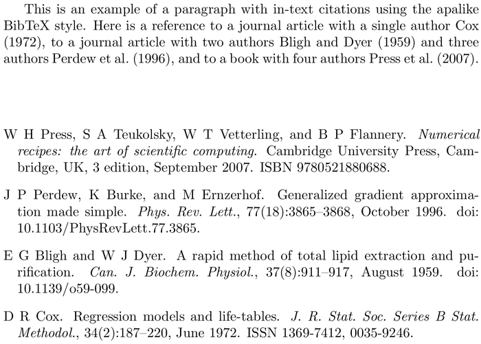 BibTeX bestpapers bibliography style example with in-text references and bibliography