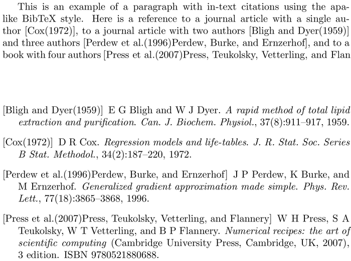 BibTeX bookdb bibliography style example with in-text references and bibliography