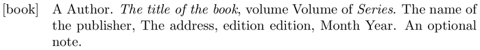 abstract: example of a bibliography item for a book entry