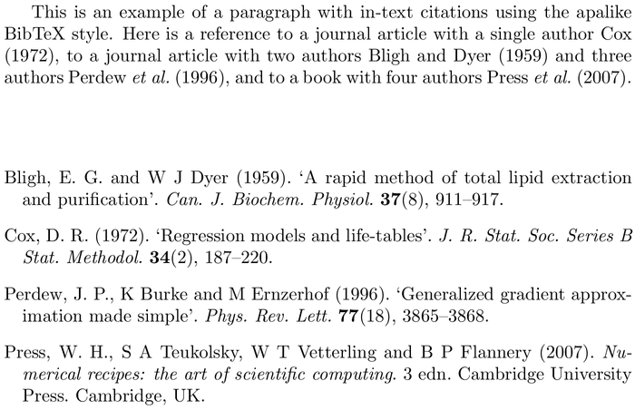 BibTeX automatica bibliography style example with in-text references and bibliography