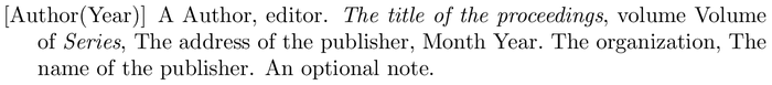 chronoplainnm: example of a bibliography item for an proceedings entry
