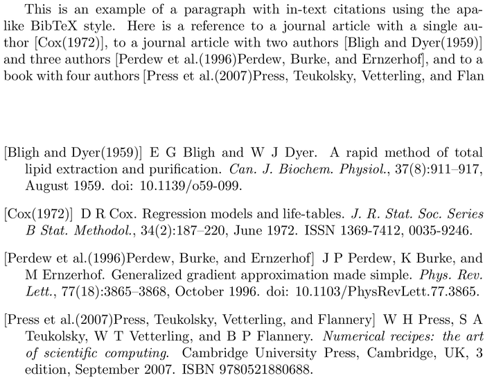 BibTeX chronoplainnm bibliography style example with in-text references and bibliography