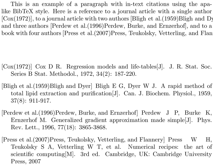 BibTeX thuthesis-numeric bibliography style example with in-text references and bibliography